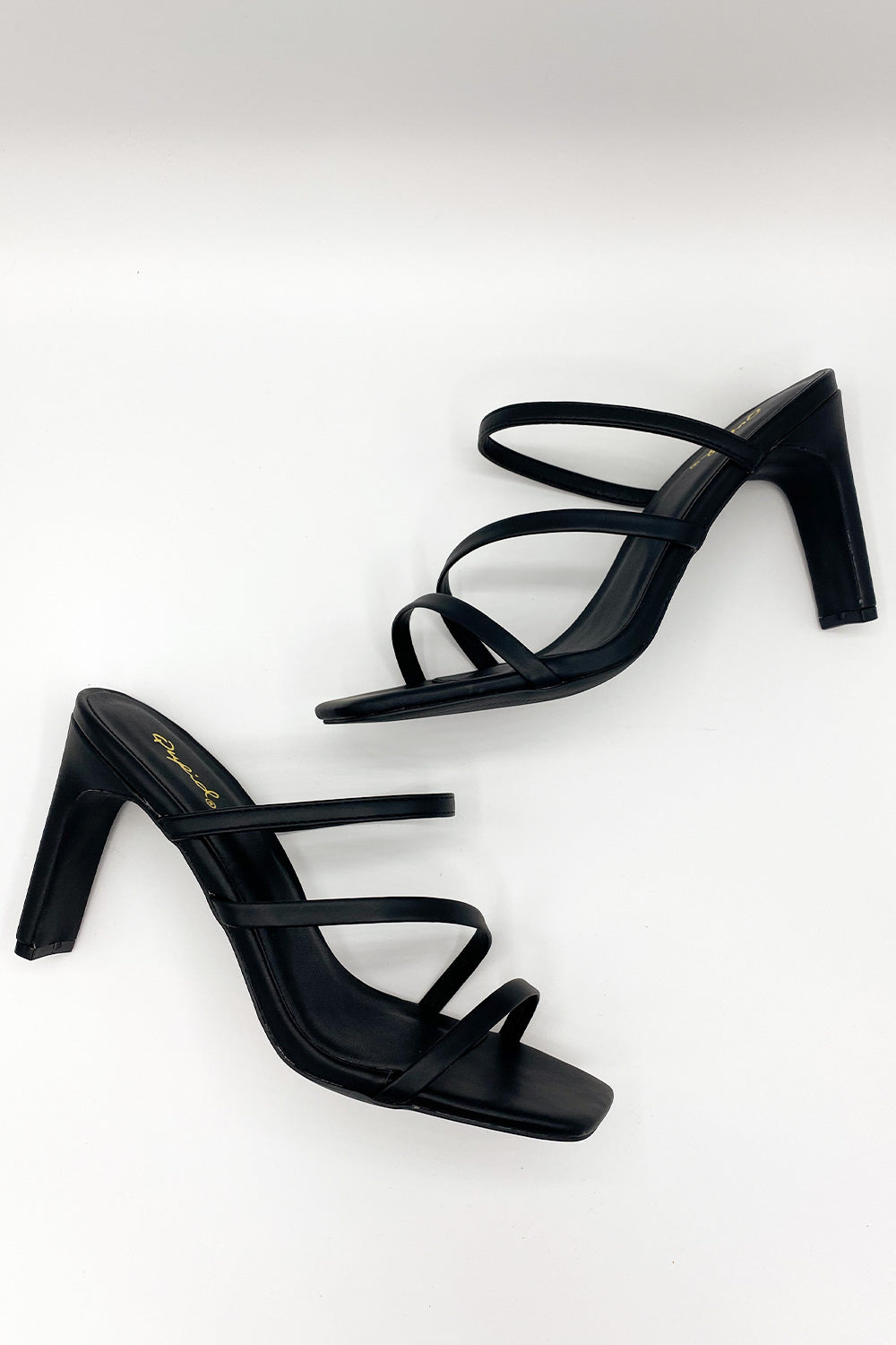 Up Toe No Good Black Strappy Sandal