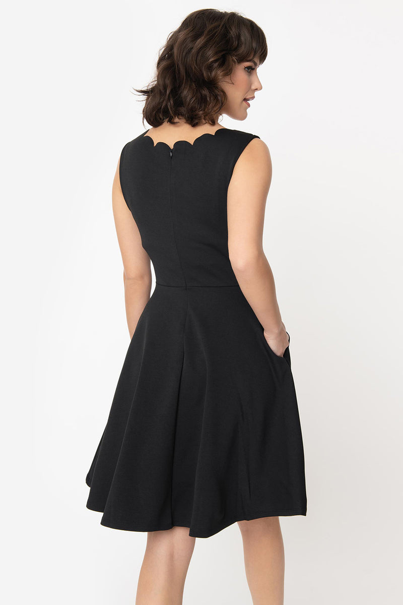 Black Sleeveless Scalloped Charmed Dress by Smak Parlour