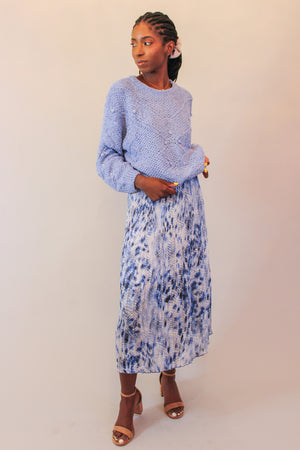 Blue Snakeskin Pleated Midi Skirt with Metallic Detailing