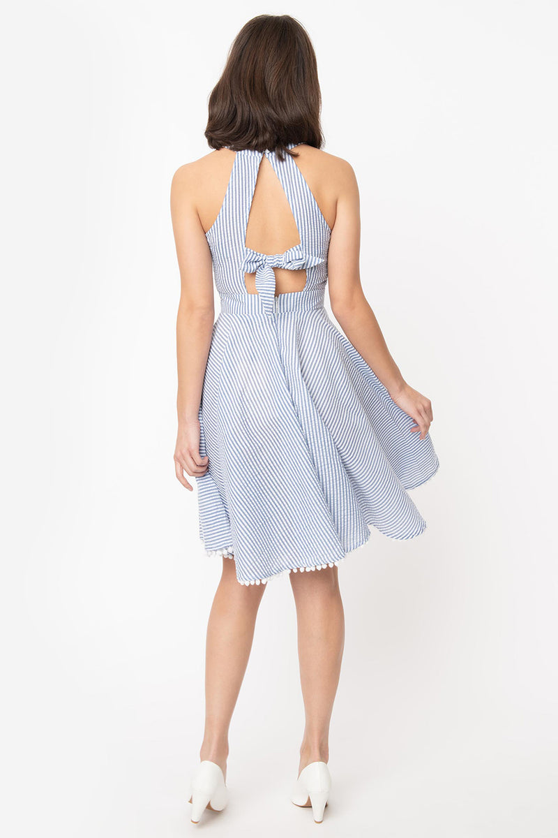 Navy Seersucker Halter Make Me Over Dress by Smak Parlour
