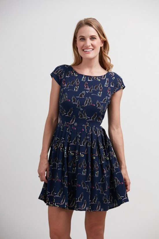 Navy Cap Sleeve Neon Cat Print Dress