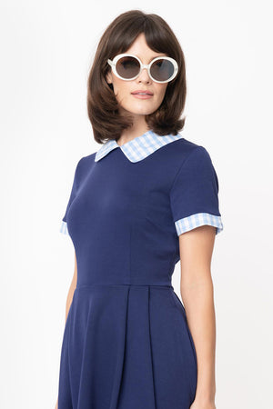 Navy & Light Blue Gingham Babe Revolution Dress By Smak Parlour