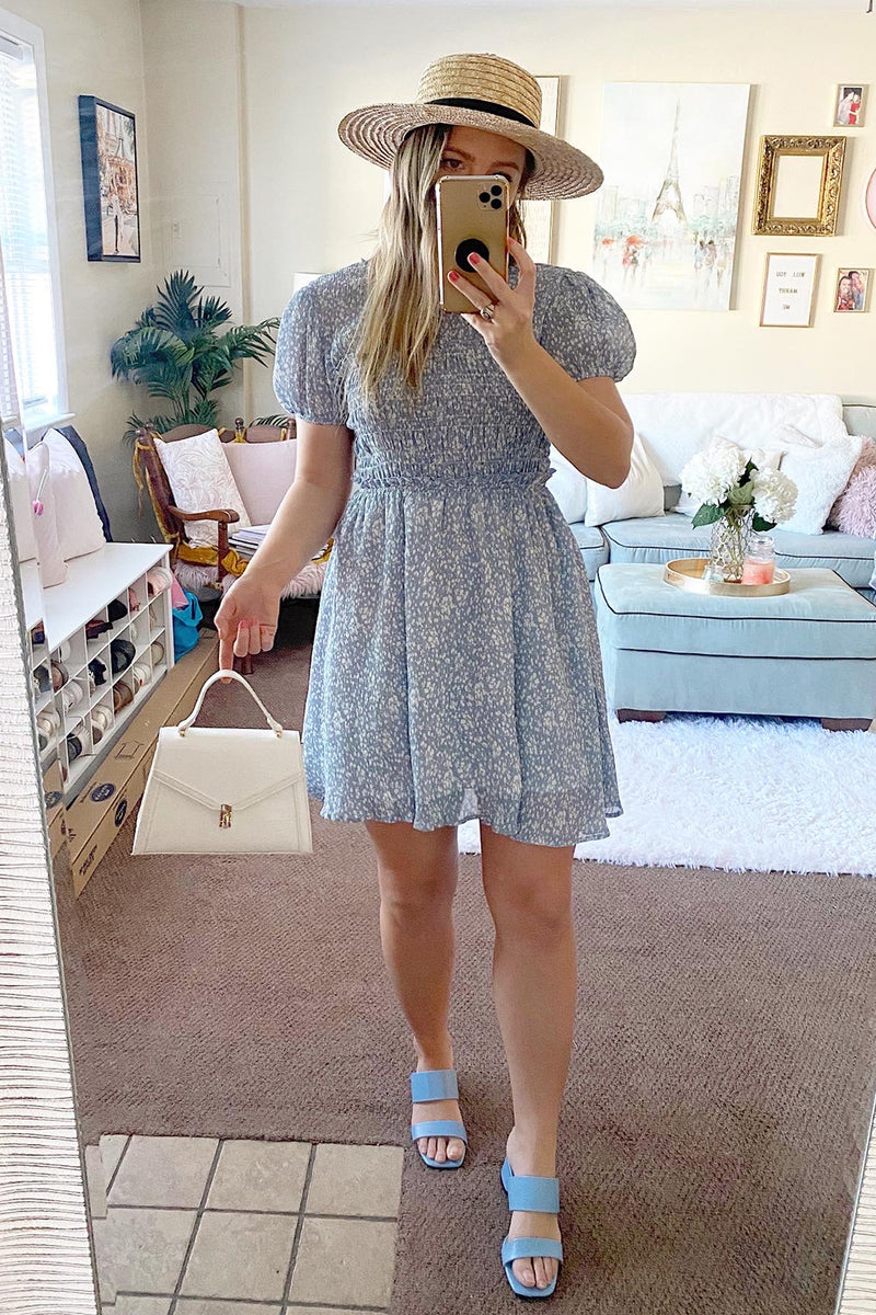 Be A Doll Light Blue Dot Print Babydoll Short Sleeve Smocked Dress