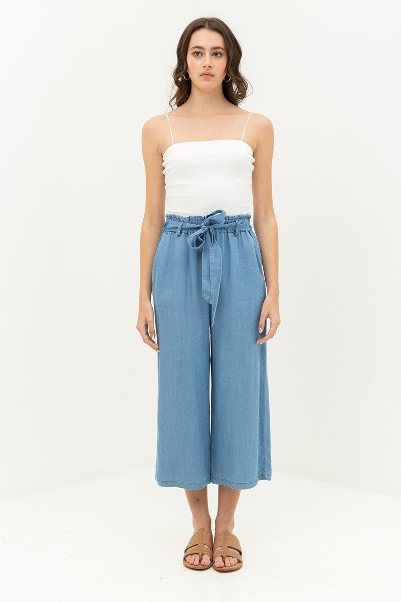 Light Denim Cropped High Waisted Flare Pants