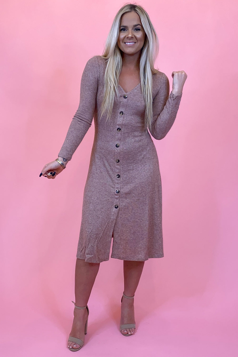Button Me Up Light Brown Sweater Dress