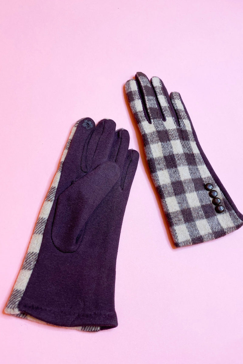 Plaid Gloves with Button Detailing