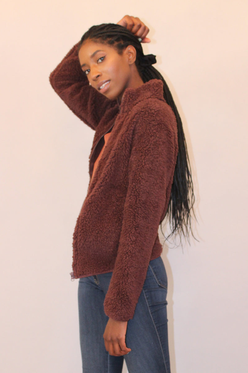 Dark Burgundy Zip Up Teddy Coat