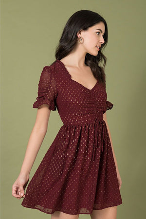 Burgundy & Gold Flock Dot Media Darling Dress By Smak Parlour
