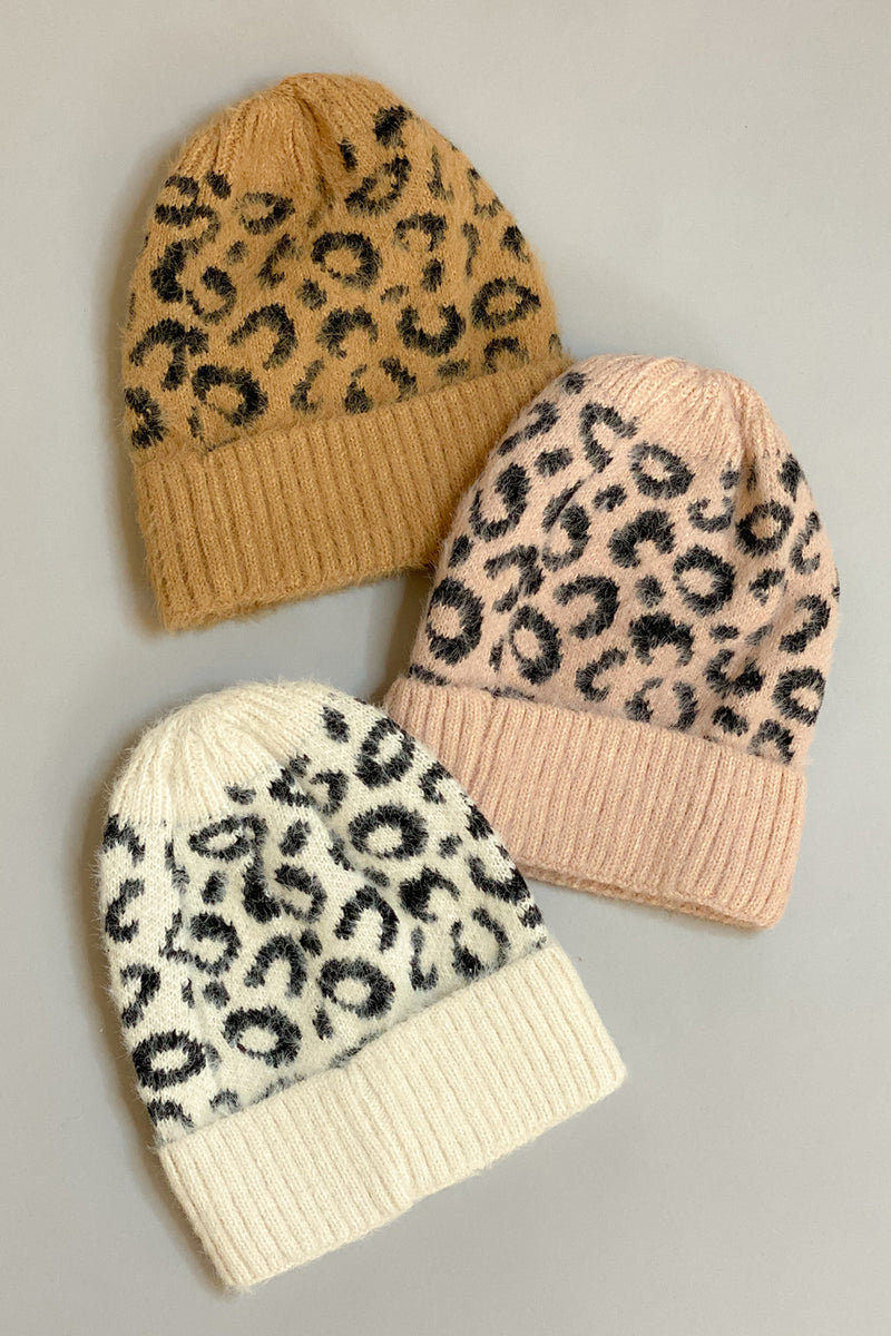 Snow Leopard Ribbed Beanie