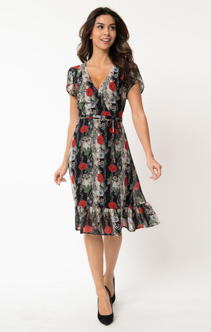 Pre Order: Hide & Go Chic Red Floral Midi Wrap Dress by Smak Parlour