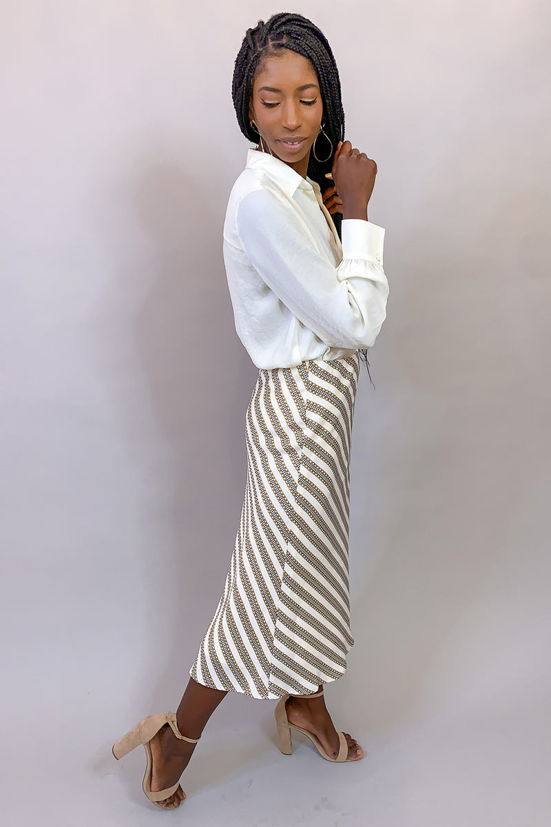 Chain Reaction White Silk Houndstooth Print Midi Skirt