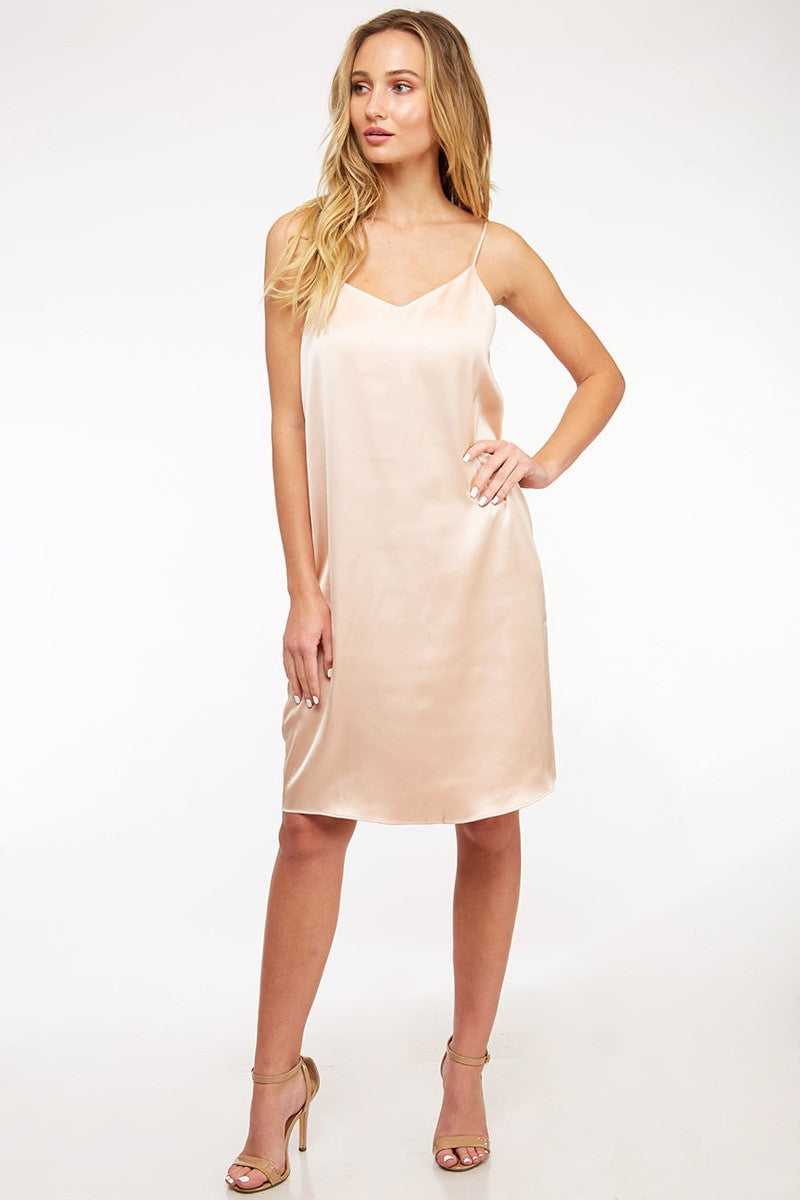Sweet Satin Champagne Sleeveless Dress