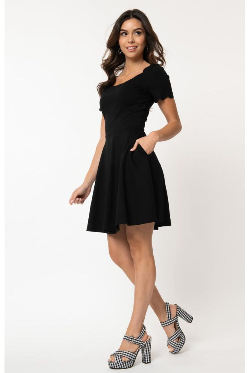 Black Stretch Scalloped Short Sleeve Charmed Fit & Flare Dress by Smak Parlour