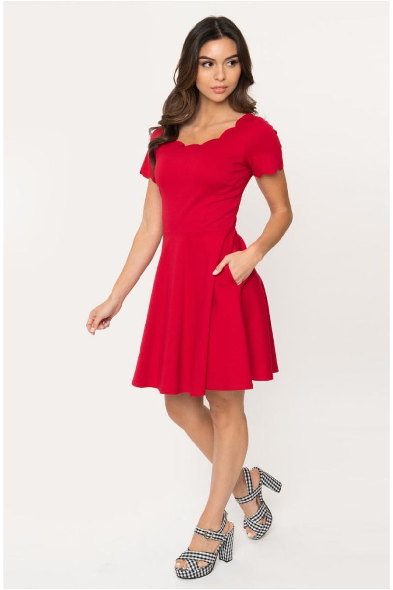 Red Scalloped Short Sleeve Charmed Fit & Flare Dress by Smak Parlour
