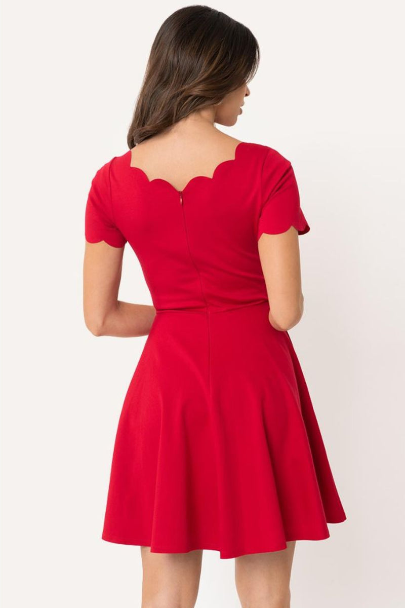 Pre Order: Red Scalloped Short Sleeve Charmed Fit & Flare Dress by Smak Parlour