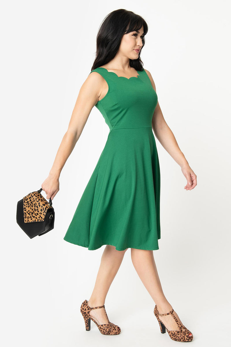 Green Sleeveless Scalloped Charmed Dress by Smak Parlour