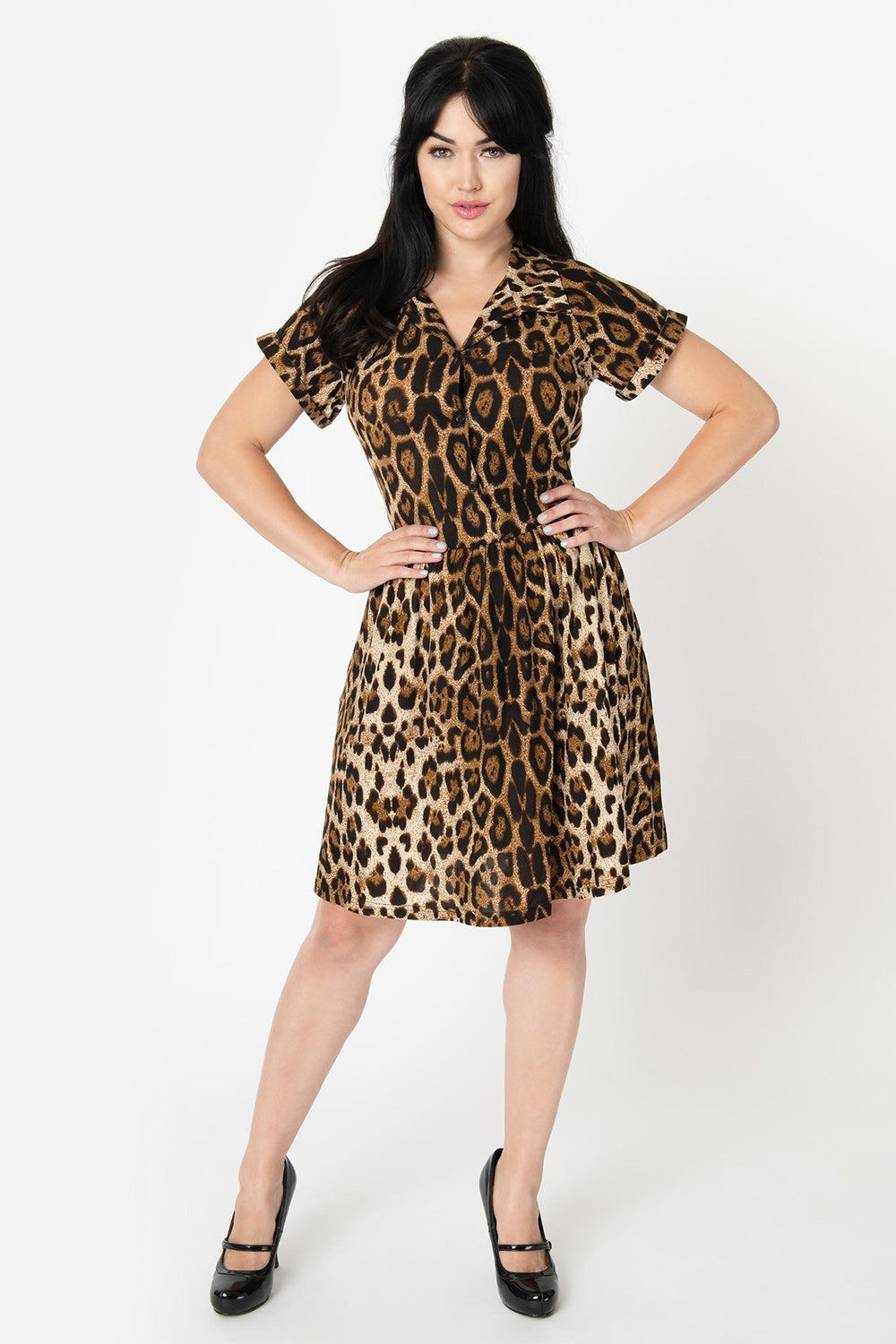 Leopard Print Short Sleeve Fit & Flare Dress