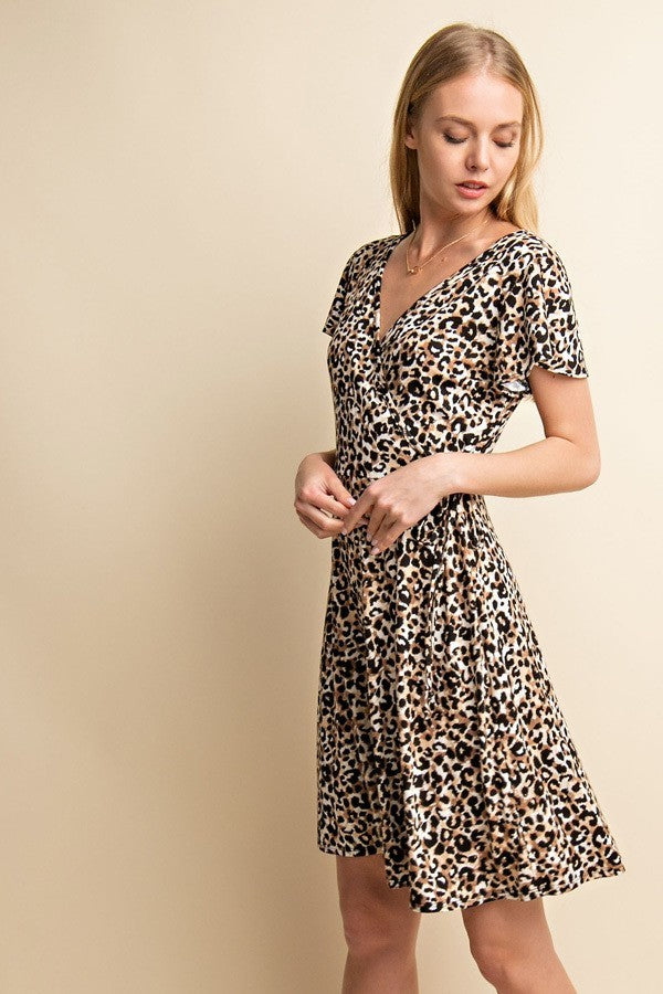 Meow or Never Leopard V-Neck Wrap Dress