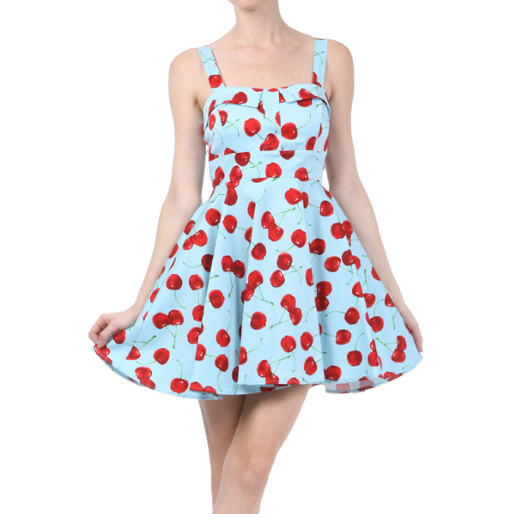 Sweet Cherry Pie- Blue Fit & Flare Dress