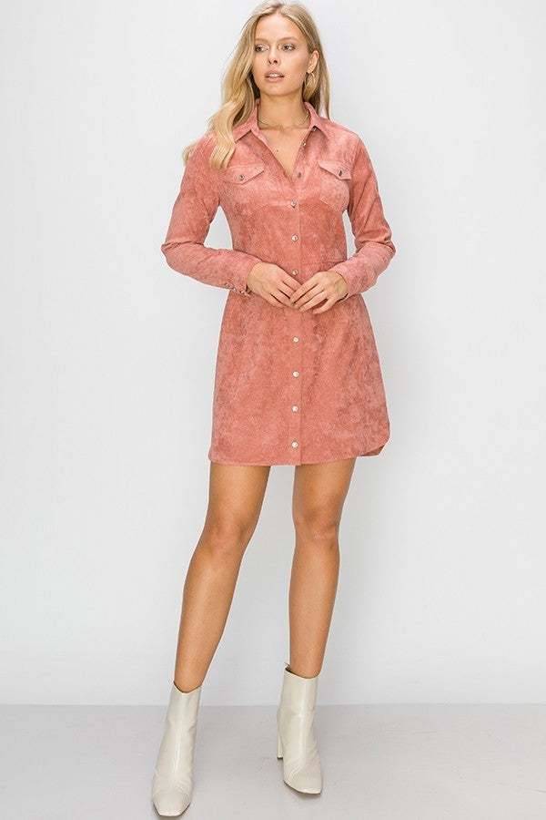 Pinking of You Pink Corduroy Long Sleeve Button up Dress