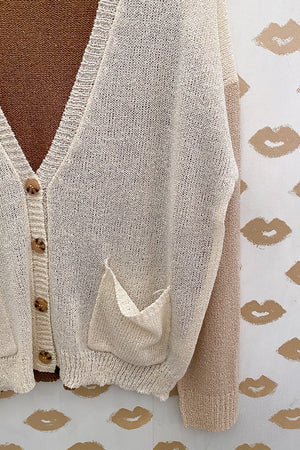 All Neutrals Color Block Lightweight Button Up Cardigan