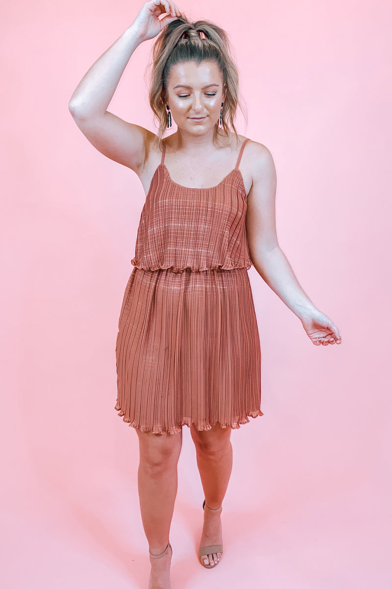 Copper & Metallic Pleated Spaghetti Strap Dress