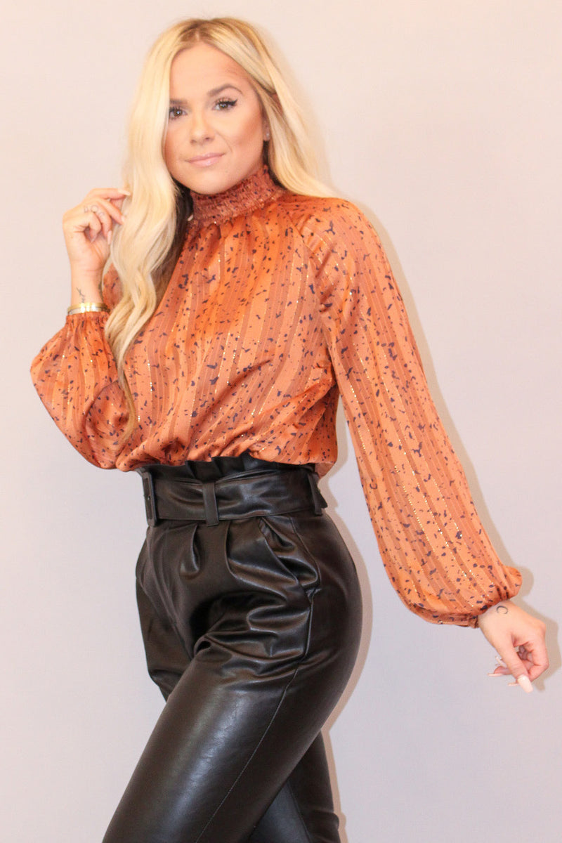 Bronzed Smocked High Neck Bodysuit with Metallic Detailing