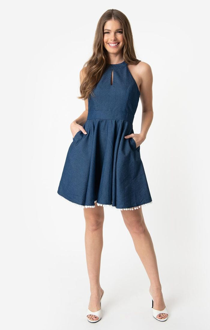 Full Glam Ahead Denim Halter Dress + Pom Poms by Smak Parlour