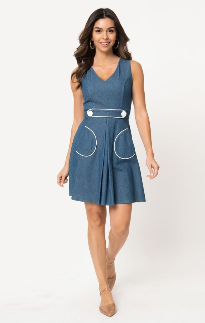 For Keeps Denim Dress With Pockets by Smak Parlour