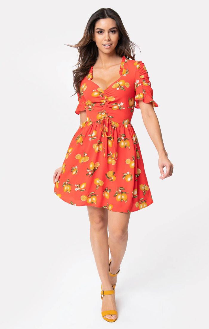 183242e253 Media Darling Red Lemon Print Dress by Smak Parlour