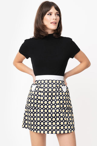 Navy Blue Short Sleeve Crop Top with Elastic Waist