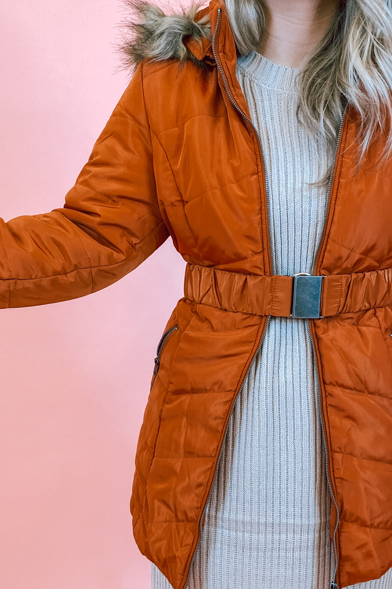 Rust Belted Winter Coat with Fur Hood
