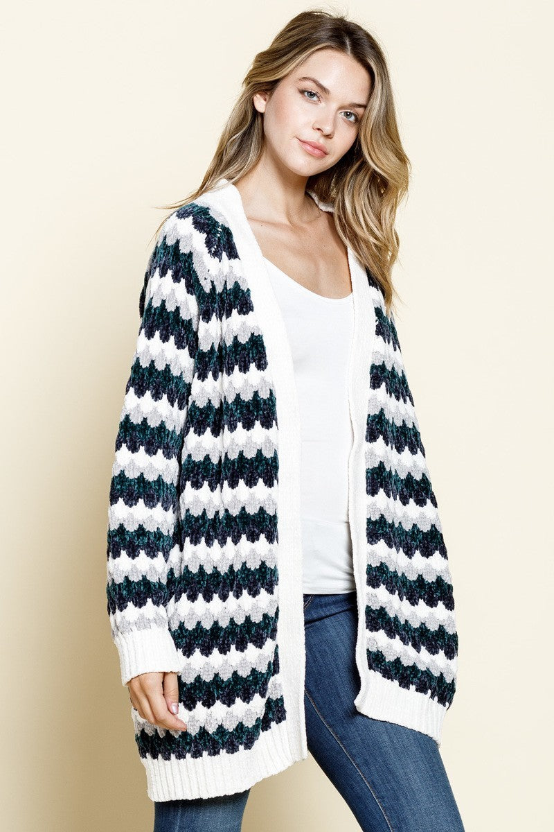 Green & Charcoal Striped Chenille Cardigan