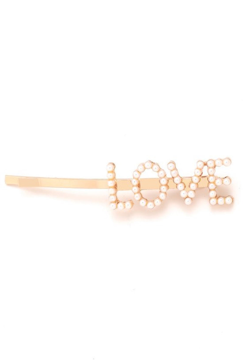'LOVE' Gold Pearl Bobby Pin