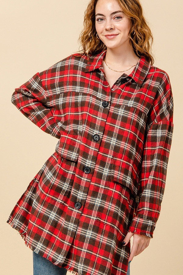 Plaid Influence Oversized Flannel Top with Raw Edge Hem