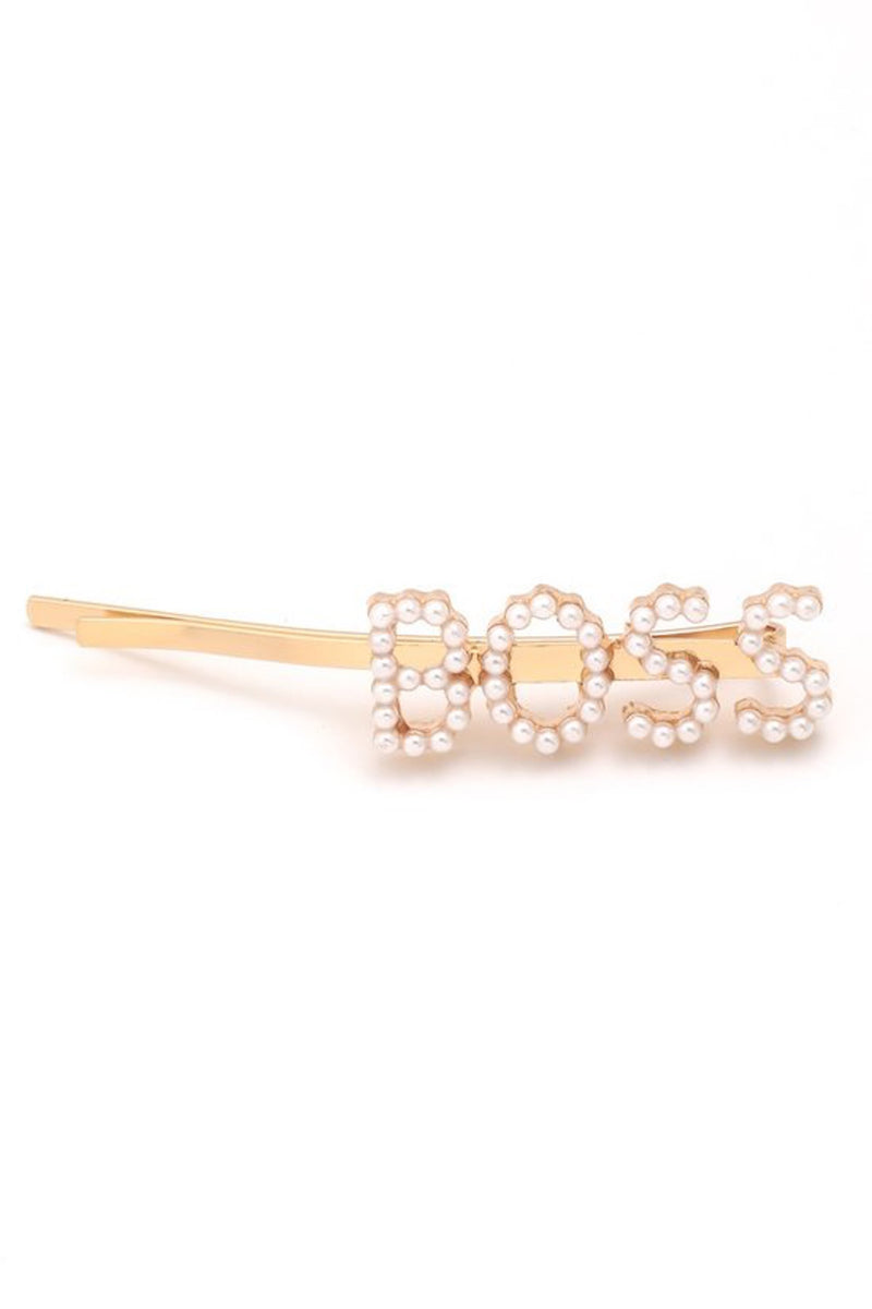 'BOSS' Gold Pearl Bobby Pin