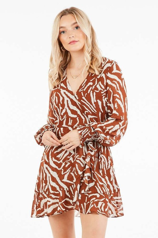 Herd It's A Party Brown Zebra Long Sleeve Faux Wrap Dress