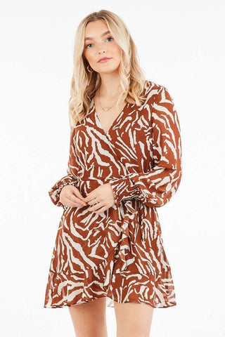 Pour Me Champagne Long Sleeve Twist Front Dress