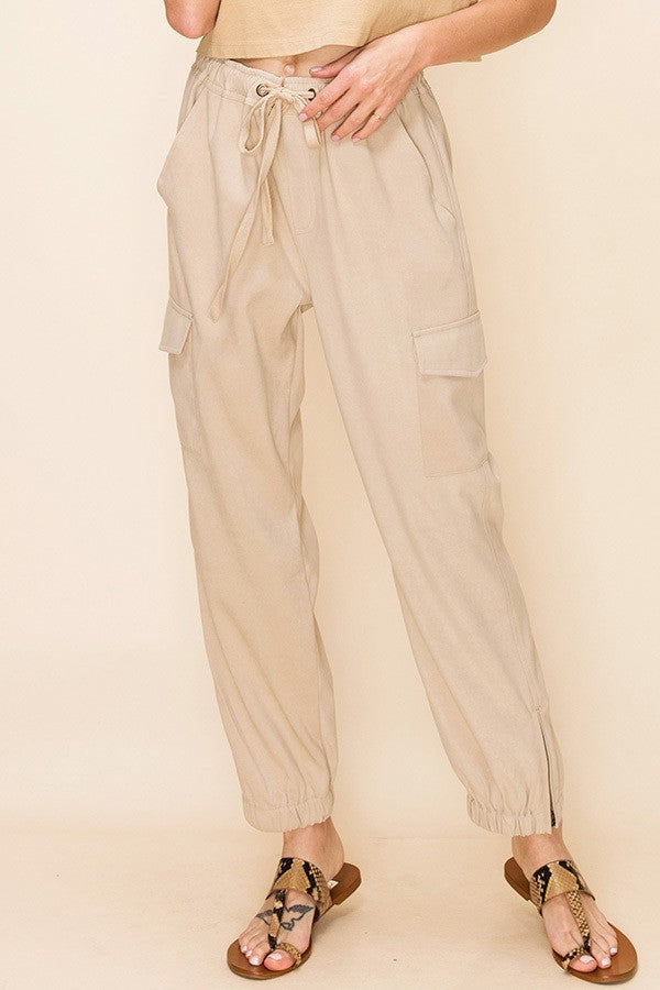 Easy Come Easy Cargo Tan Joggers with Drawstring Waist