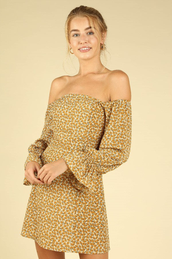 Flower Power Off The Shoulder 70s Mini Dress