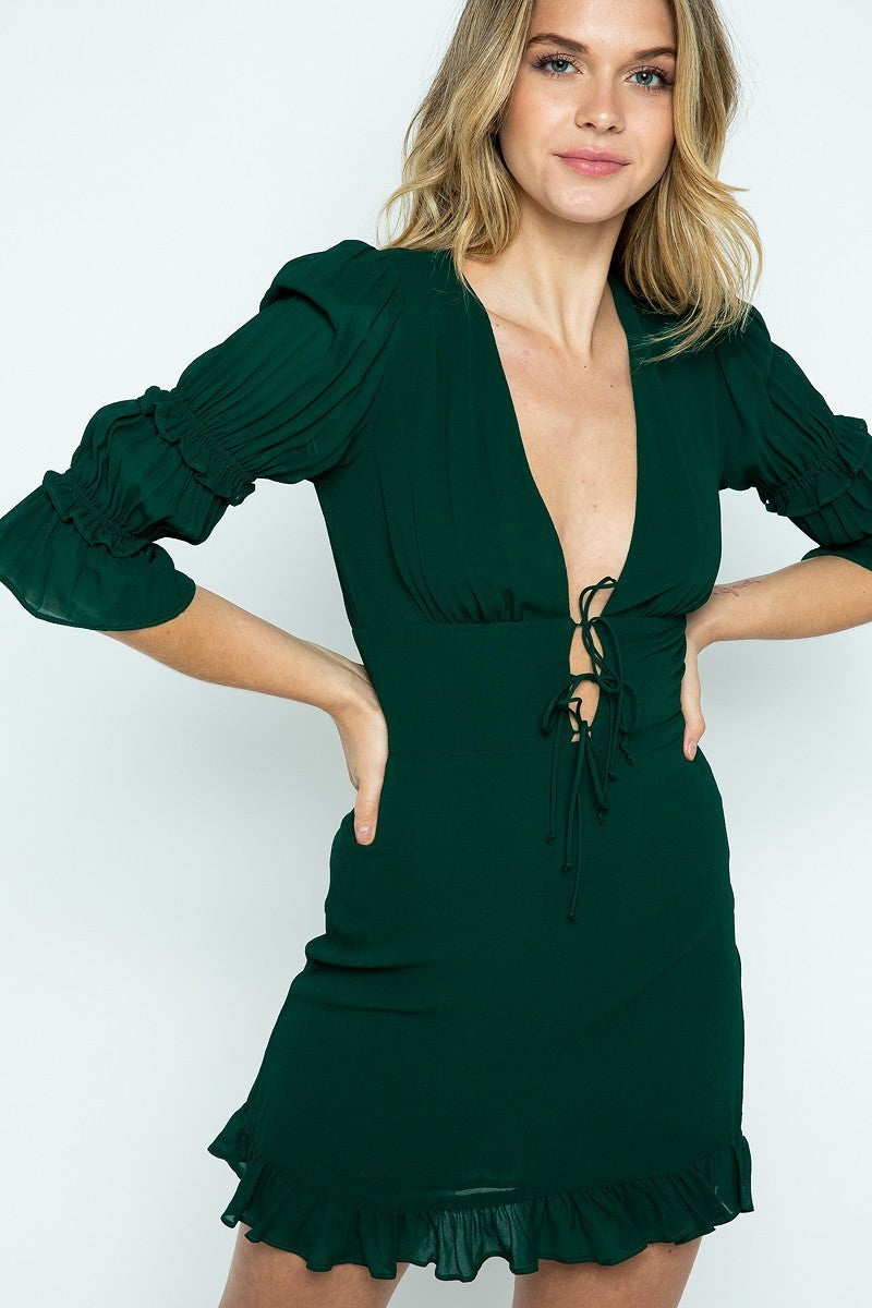 Deep on Dancing Green Ruffled Mini Dress with Deep V & Quarter Sleeves