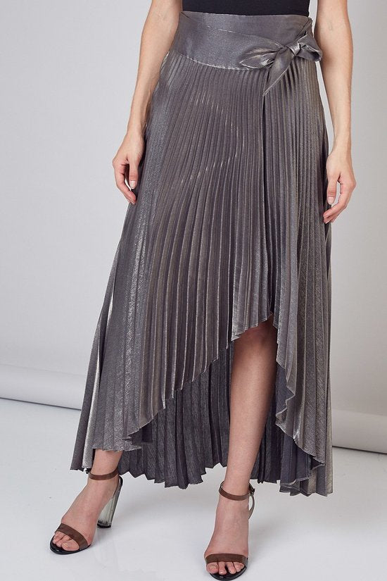 Shine Baby Grey Metallic Pleated Tie Wrap Skirt