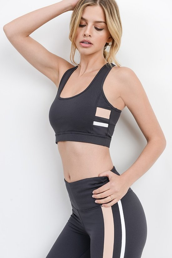 Charcoal Contrast Stripe Sports Bra