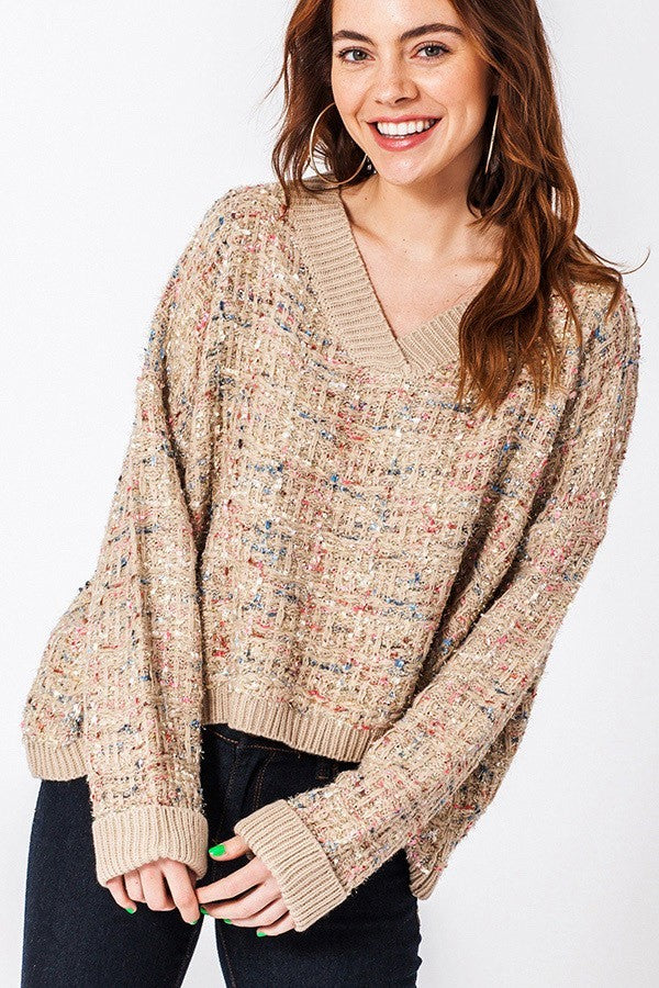 Tinsel Time Tan Multicolor Shimmer V Neck Sweater