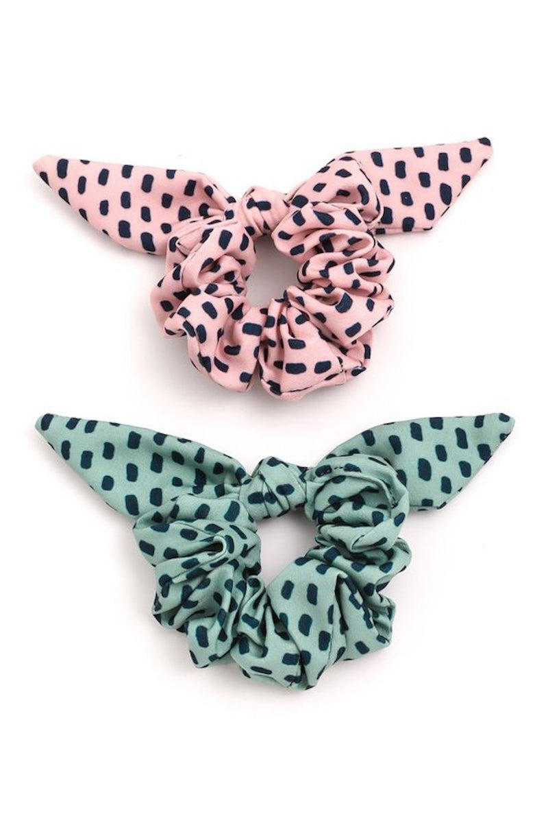 Pastel Spotted Bow Hair Scrunchie