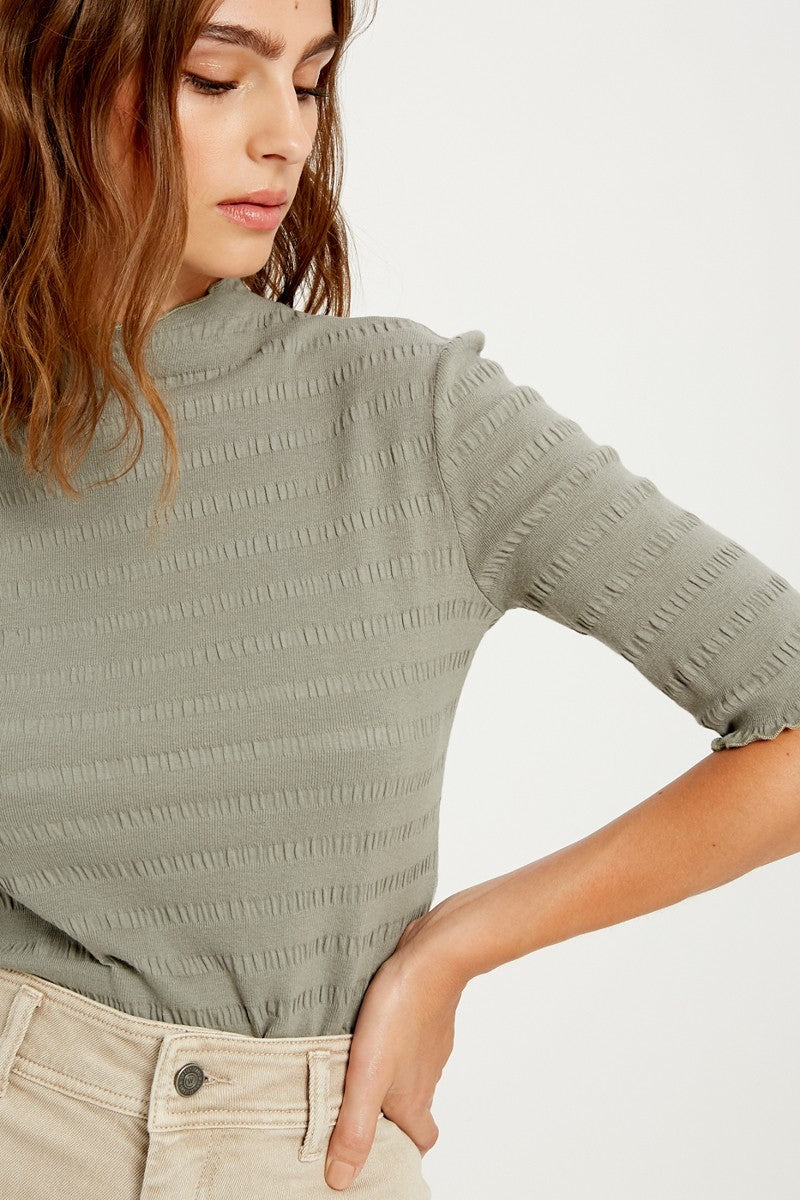 Olive Ruffle Trim Half Sleeve Top