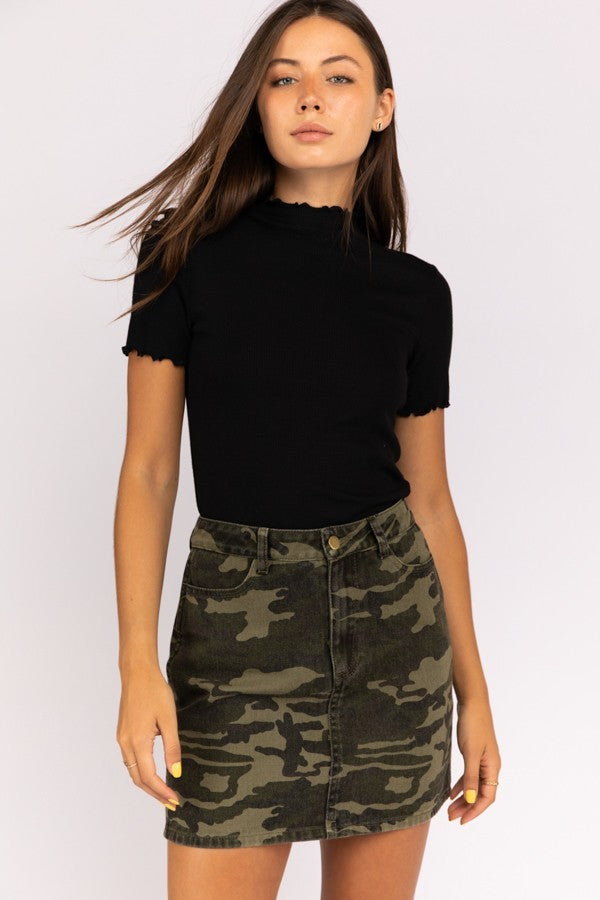 Casual in Camo Denim Mini Skirt