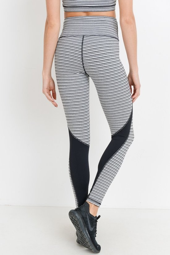 Grey Striped High Waisted Workout Leggings with Black Colorblock