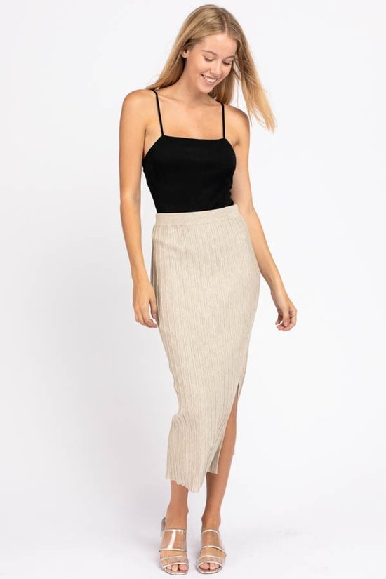 Like Knit Like That Oatmeal Ribbed Midi Skirt