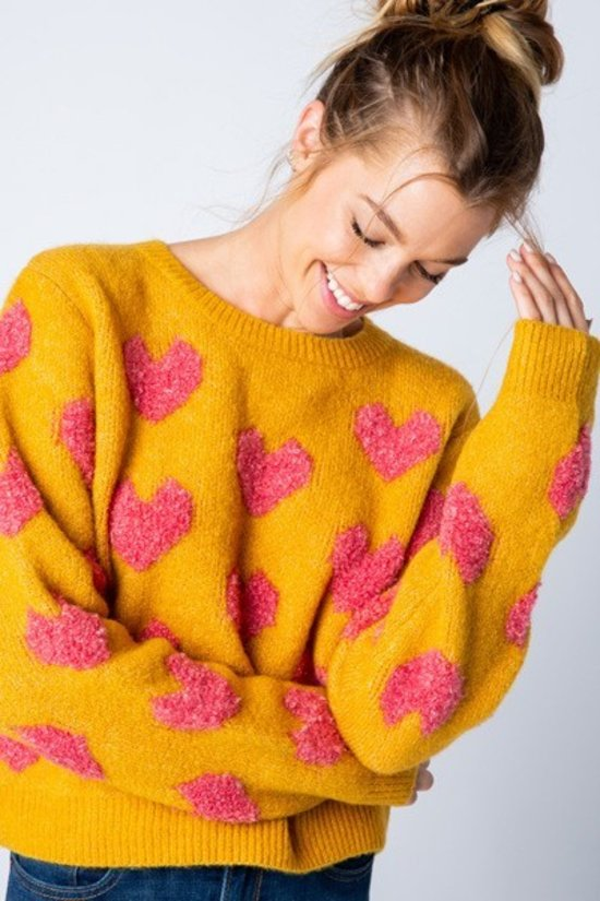 Tell Knit to My Heart Yellow & Pink Fuzzy Heart Crewneck Sweater